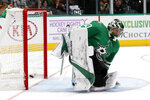 Dallas Stars goaltender Ben Bishop (30) is unable to stop a shot by Winnipeg Jets left wing Kyle Connor in the second period of an NHL hockey game in Dallas, Thursday, Nov. 21, 2019. (AP Photo/Tony Gutierrez)