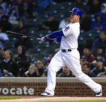 Chicago Cubs' Anthony Rizzo watches his two-run home run during the first inning of a baseball game against the Miami Marlins, Monday, May 6, 2019, in Chicago. (AP Photo/Paul Beaty)