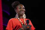 FILE - Joy Reid speaks at the 2019 Global Citizen Festival on Sept. 28, 2019, in New York. MSNBC has picked Reid to fill the 7 p.m. hour that was vacated by longtime host Chris Matthews in early March. When Reid debuts her new show,