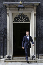 Britain's Foreign Secretary Jeremy Hunt leaves 10 Downing Street, following a meeting held over British oil tanker Stena Impero which was captured by Iran, Saturday July 20, 2019.  Hunt has said Britain's response to Iran's seizure of a British-flagged ship in the Strait of Hormuz