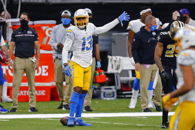 Los Angeles Chargers wide receiver Keenan Allen (13) reacts after a first down conversion in the first half of an NFL football game against the New Orleans Saints in New Orleans, Monday, Oct. 12, 2020. (AP Photo/Brett Duke)