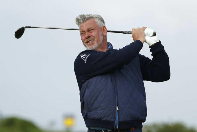 Northern Ireland's Darren Clarke tees of the 4th hole during the first round of the British Open Golf Championships at Royal Portrush in Northern Ireland, Thursday, July 18, 2019.(AP Photo/Matt Dunham)