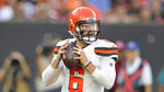 Cleveland Browns quarterback Baker Mayfield looks to pass during the first half of the team's NFL preseason football game against the Washington Redskins, Thursday, Aug. 8, 2019, in Cleveland. (AP Photo/David Richard)