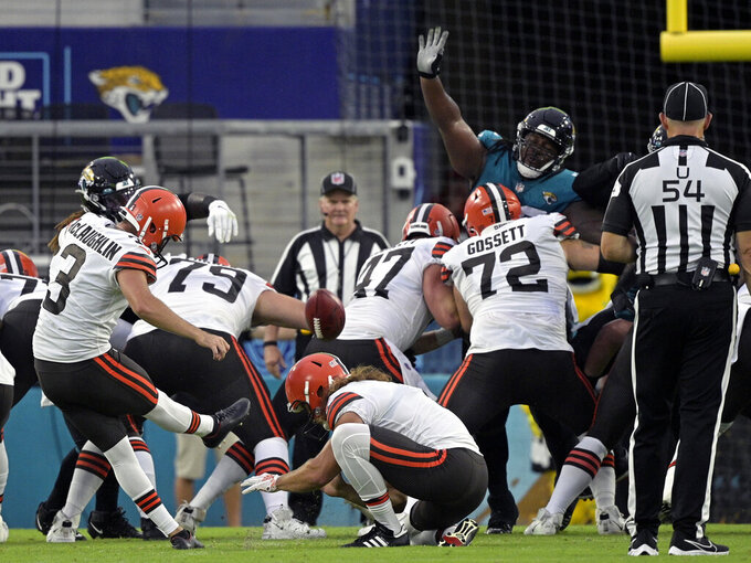 FILE - In this Aug. 14, 2021, file photo, Cleveland Browns kicker Chase McLaughlin (3) boots a field goal against the Jacksonville Jaguars during the first half of an NFL preseason football game in Jacksonville, Fla. Browns kicker Cody Parkey is being placed on injured reserve, meaning McLaughlin will likely begin the season as Cleveland's starter. (AP Photo/Phelan M. Ebenhack, File)