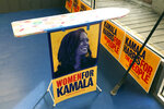 An ironing board decorates the front of a campaign office for Democratic presidential candidate Sen. Kamala Harris, D-Calif. in Mason City, Iowa., on Nov. 9, 2019. Harris often tells the story about setting up an ironing board outside grocery stores to meet voters during her first political campaign for San Francisco district attorney. (AP Photo/Kathleen Ronayne)