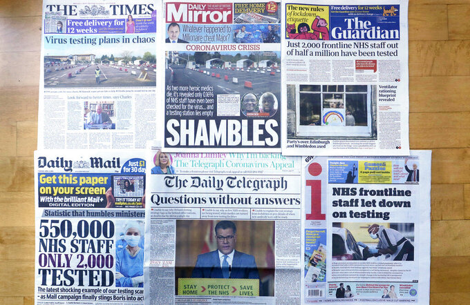 A view of the front pages of Britain's newspapers showing their coverage of the coronavirus, in London, Thursday, April 2, 2020. Newspapers in Britain have criticised the lack of testing NHS staff for the virus. The new coronavirus causes mild or moderate symptoms for most people, but for some, especially older adults and people with existing health problems, it can cause more severe illness or death. (AP Photo/Kirsty Wigglesworth)