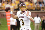 Central Michigan quarterback Jacob Sirmon prepares to throw a pass during the first half of an NCAA college football game  against Missouri, Saturday, Sept. 4, 2021, in Columbia, Mo. (AP Photo/L.G. Patterson)