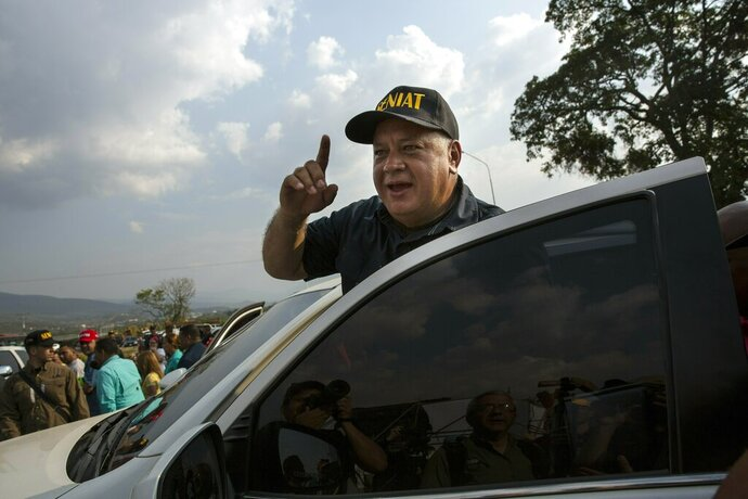 Diosdado Cabello, President of Venezuela's Constituent Assembly, talks to supporters during the first day of the