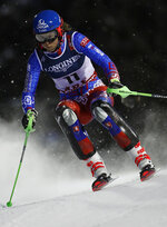 Petra Vlhova speeds down the course during the slalom portion of the women's combined, at the alpine ski World Championships in Are, Sweden, Friday, Feb. 8, 2019. (AP Photo/Gabriele Facciotti)