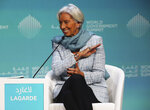 International Monetary Fund Managing Director Christine Lagarde speaks at the World Government Summit in Dubai, United Arab Emirates, Sunday, Feb. 10, 2019. Lagarde on Sunday warned that the British exit from the European Union means Britain
