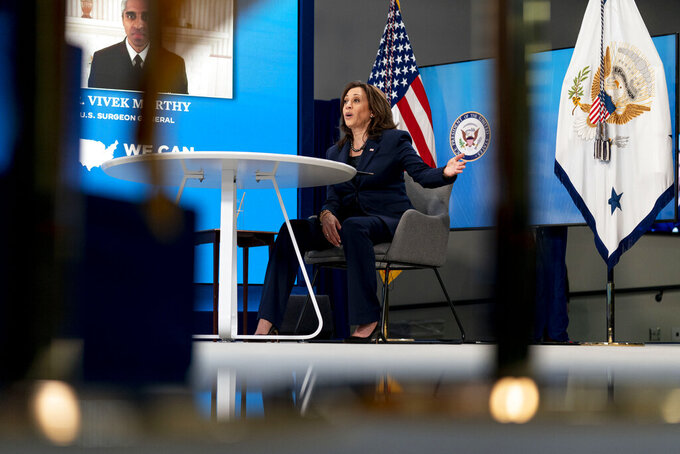 Vice President Kamala Harris speaks during a virtual meeting with community leaders to discuss COVID-19 public education efforts in the South Court Auditorium in the Eisenhower Executive Office Building on the White House Campus, Thursday, April 1, 2021, in Washington. (AP Photo/Andrew Harnik)
