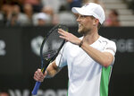 Andreas Seppi of Italy celebrates his win over Diego Schwartzman of Argentina in their men's singles semifinal match at the Sydney International tennis tournament in Sydney, Friday, Jan. 11, 2019. (AP Photo/Rick Rycroft)