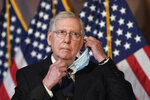 Senate Majority Leader Mitch McConnell of Ky., listens to a question during a news conference on Capitol Hill in Washington, Monday, July 27, 2020, to highlight the new Republican coronavirus aid package. (AP Photo/Susan Walsh)
