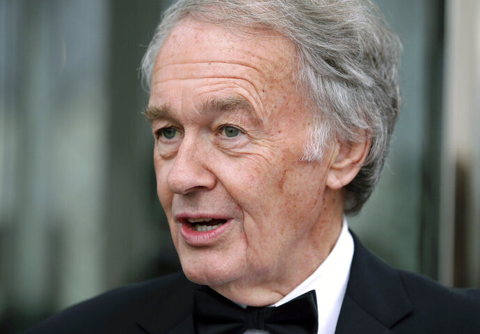 In this May 20, 2018 file photo, U.S. Sen. Ed Markey, D-Mass., arrives at the John F. Kennedy Presidential Library and Museum for the Profile in Courage Award ceremonies in Boston. Members of Massachusetts' all-Democratic congressional delegation are continuing to rake in campaign dollars, including Markey, who in July 2019 is sitting on more than $4 million ahead of his 2020 re-election campaign. (AP Photo/Steven Senne, File)