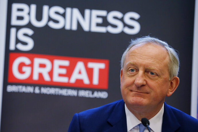 Lord Mayor of the City of London Peter Estlin speaks during a news conference in Hong Kong, Tuesday, Feb. 19, 2019. Estlin paid an official visit to Hong Kong from Feb. 18 to 19 to reinforce the UK's links with cities across Asia. (AP Photo/Kin Cheung)