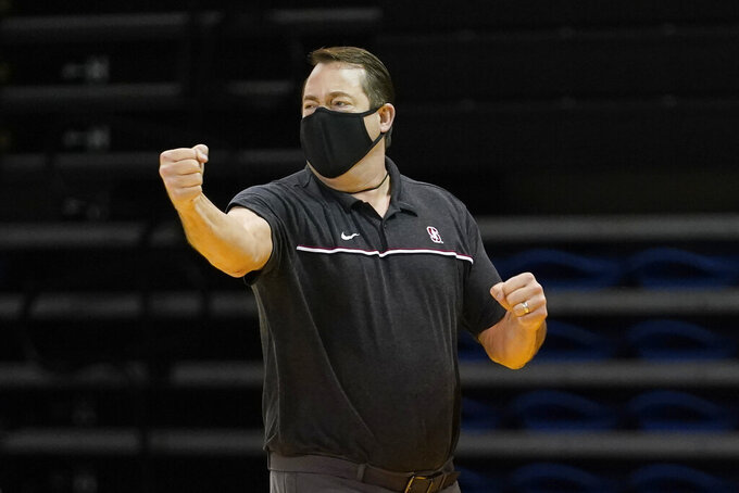 Stanford head coach Jerod Haase reacts during the first half of his team's NCAA college basketball game against Washington State in Santa Cruz, Calif., Saturday, Jan. 9, 2021. (AP Photo/Jeff Chiu)