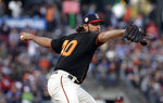 San Francisco Giants pitcher Madison Bumgarner throws to a St. Louis Cardinals batter during the first inning of a baseball game in San Francisco, Saturday, July 6, 2019. (AP Photo/Jeff Chiu)