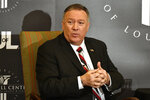 Secretary of State Mike Pompeo speaks at the University of Louisville McConnell Center's Distinguished Speaker Series in Louisville, Ky., Monday, Dec. 2, 2019. (AP Photo/Timothy D. Easley)