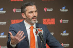 FILE - In this Jan. 14, 2020, file photo, Cleveland Browns NFL Football head coach Kevin Stefanski answers a question during a news conference in Cleveland. The NFL Draft is April 23-25.(AP Photo/Phil Long, File)