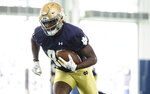 Notre Dame wide receiver Jayden Thomas (83) during Notre Dame Fall Camp on Saturday, Aug. 7, 2021, at Irish Athletics Center in South Bend, Ind. (John Mersits/South Bend Tribune via AP)