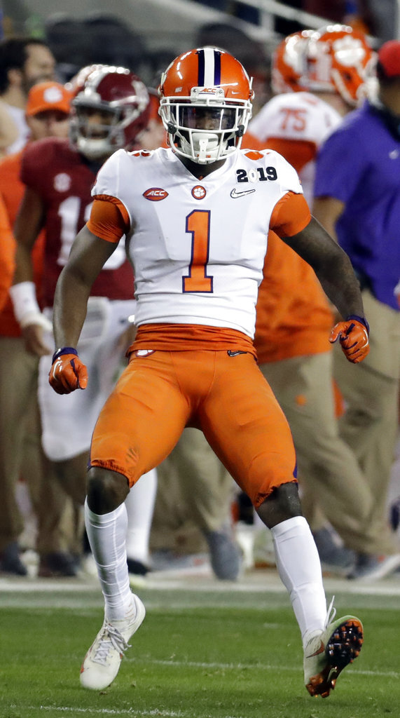 Clemson's Trayvon Mullen reacts after intercepting a pass during the first half the NCAA college football playoff championship game against Alabama, Monday, Jan. 7, 2019, in Santa Clara, Calif. (AP Photo/Chris Carlson)