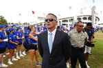 Memphis head coach Mike Norvell prepares to take the Tiger Walk before an NCAA college football game against Navy at the Liberty Bowl Memorial Stadium on Thursday, Sept. 26, 2019. (Joe Rondone/The Commercial Appeal via AP)