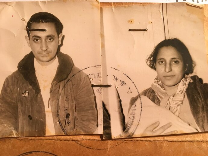"This undated photo made available by David Deri, the director of the documentary series, ""The Ancestral Sin,"" shows photographs of Masud Deri, left, and Masud Deritaken the day they immigrated to Israel in March 1963. The electrifying new series on the problematic integration of Middle Eastern Jews by Israel's European founders in the 1950s has reopened old wounds of an ethnic divide within Judaism. (Courtesy of David Deri  via AP)"