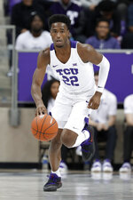 TCU guard RJ Nembhard (22) brings the ball up against Louisiana-Lafayette during the second half of an NCAA college basketball game in Fort Worth, Texas, Tuesday, Nov. 12, 2019. (AP Photo/Tony Gutierrez)