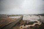 View of a flooded area due a heavy rain in Malgrat, near Barcelona, Spain, Wednesday, Jan. 22, 2020. Since Sunday the storm has hit mostly eastern areas of Spain with hail, heavy snow and high winds, while huge waves smashed into towns on the Mediterranean coast and nearby islands of Mallorca and Menorca. (AP Photo/Joan Mateu)