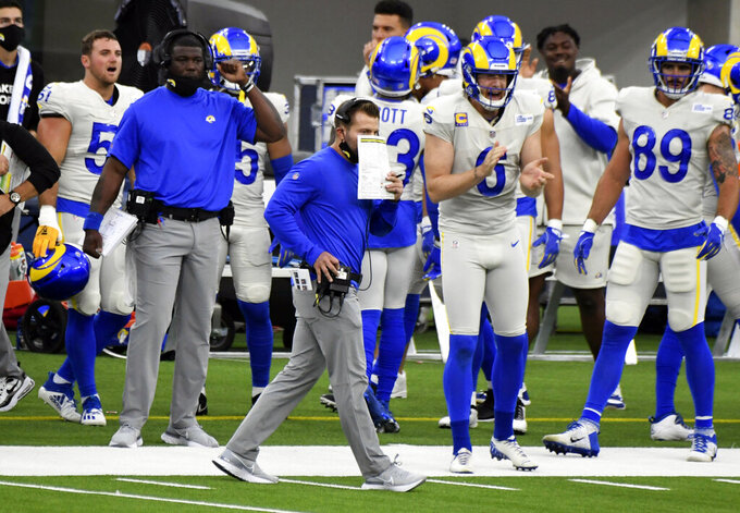 Los Angeles Rams head coach Sean McVay walks the sideline against the Dallas Cowboys in the first half of an NFL football game, Sunday, Sept. 13, 2020, in Inglewood, Calif. (Keith Birmingham/The Orange County Register via AP)