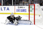 Los Angeles Kings goaltender Jack Campbell gives up a goal on a shot by Buffalo Sabres' Conor Sheary during the first period of an NHL hockey game Thursday, Oct. 17, 2019, in Los Angeles. (AP Photo/Marcio Jose Sanchez)