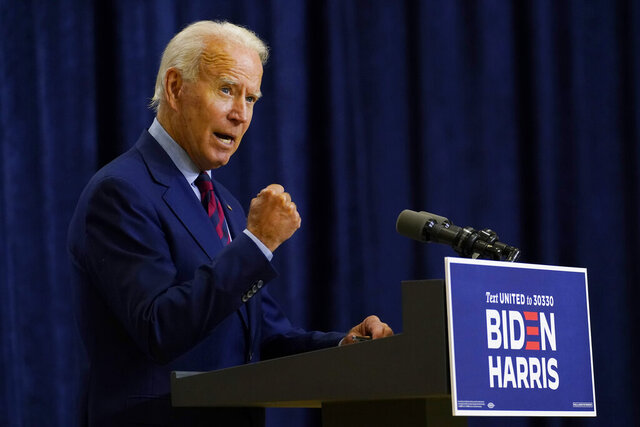 Democratic presidential candidate former Vice President Joe Biden speaks in Wilmington, Del., Friday Sept. 4, 2020. (AP Photo/Carolyn Kaster)