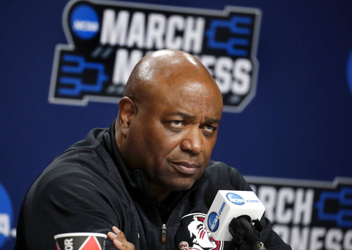 Florida State head coach Leonard Hamilton listens to a question during a news conference at the NCAA men's college basketball tournament, Friday, March 22, 2019, in Hartford, Conn. Florida State plays Murray State in the second round on Saturday. (AP Photo/Elise Amendola)