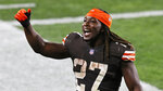 Cleveland Browns running back Kareem Hunt celebrates after the Browns defeated the Indianapolis Colts 32-23 during an NFL football game, Sunday, Oct. 11, 2020, in Cleveland. (AP Photo/Ron Schwane)