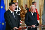 Chinese President Xi Jinping, left, delivers his speech during his meeting with Italian President Sergio Mattarella at the Quirinale Presidential Palace, in Rome, Friday, March 22, 2019. Jinping is launching a two-day official visit aimed at deepening economic and cultural ties with Italy through an ambitious infrastructure building program called