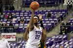 TCU guard RJ Nembhard (22) shoots after getting past North Dakota State guard Maleeck Harden-Hayes, rear, during the second half of an NCAA college basketball game in Fort Worth, Texas, Tuesday, Dec. 22, 2020. (AP Photo/Tony Gutierrez)
