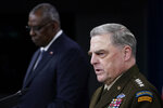 Joint Chiefs of Staff Gen. Mark Milley, right, answers a question during a briefing with Secretary of Defense Lloyd Austin, left, at the Pentagon in Washington, Wednesday, Sept. 1, 2021, about the end of the war in Afghanistan. (AP Photo/Susan Walsh)