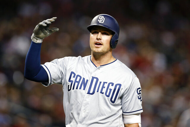 FILE - In this  Saturday, Sept. 28, 2019 file photo, San Diego Padres' Hunter Renfroe reacts after being called out on strikes against the Arizona Diamondbacks during the sixth inning of a baseball game in Phoenix. The Tampa Bay Rays are coming off a 96-win season and their first playoff appearance in six years. General manager Erik Neander went about improving the Rays this winter by addressing the need for right-handed hitting with a pair of trades that added Hunter Renfroe, Jose Martinez and Randy Arozarena. (AP Photo/Ralph Freso, File)