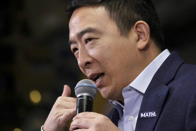 Democratic presidential candidate Andrew Yang speaks during a campaign event at To Share Brewing Co., Wednesday, Jan. 8, 2020, in Manchester, N.H. (AP Photo/Elise Amendola)