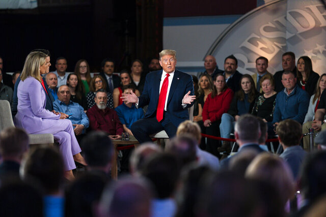 President Donald Trump speaks during a FOX News Channel town hall at the Scranton Cultural Center, Thursday, March 5, 2020, in Scranton, Pa. (AP Photo/Evan Vucci)