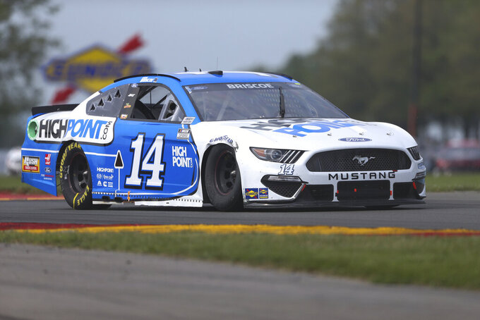 Chase Briscoe drives through the Bus Stop during a NASCAR Cup Series auto race in Watkins Glen, N.Y., on Sunday, Aug. 8, 2021. (AP Photo/Joshua Bessex)