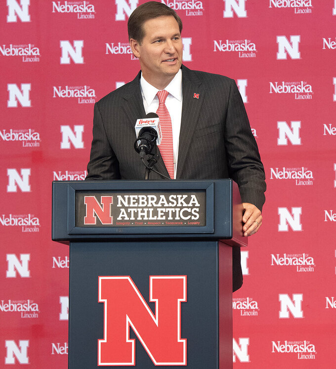 Trev Alberts speaks after he was is introduced as Nebraska's new athletic director during a news conference, Wednesday, July 14, 2021, at Memorial Stadium in Lincoln, Neb. (Gwyneth Roberts/Lincoln Journal Star via AP)