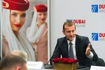 Airbus CEO Guillaume Faury responds to a question during a news conference at the Dubai Airshow in Dubai, United Arab Emirates, Monday, Nov. 18, 2019. The Dubai-based airline Emirates announced Monday a new order for 20 additional wide-body Airbus A350-900 planes in a deal worth $6.4 billion. This brings the airline's total order for the aircraft to 50 Airbus A350s costing $16 billion at list price. (AP Photo/Jon Gambrell)