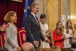 From left to right: speaker of the Spanish Parliament Meritxell Batet, Spain's King Felipe VI, Queen Letizia, Princess of Asturias Leonor and her sister Sofia during the official opening of the parliamentary season in Madrid, Monday, Feb. 2, 2020. Nearly 50 lawmakers who advocate for the Spanish regions to become independent have boycotted Monday's ceremonial opening of the nation's legislative season over the presence of the royal family. The representatives of five parties from the Catalonia, Basque Country and Galicia regions, all in northern Spain, say the king's figure is