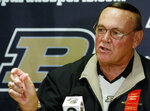 FILE - Purdue basketball coach Gene Keady talks about his team's chances for the upcoming season during an interview in West Lafayette, Ind., in this Tuesday, Oct. 21, 2003, file photo. Tony Hinkle turned Butler's pass-and-cut offense of the 1920s into a coaching textbook for generations. Bob Knight and Gene Keady added their own revisions following Hinkle's forced retirement in 1970. Today, those three remain the gold standard of basketball innovation in Indiana, a state where successful coaches have spent more than a century testing novel concepts, breaking barriers and polishing philosophies before introducing them America. (AP Photo/Michael Conroy, File)