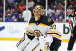 Boston Bruins goaltender Tuukka Rask (40) protects his net during the second period of Game 4 during an NHL hockey second-round playoff series against the New York Islanders, Saturday, June 5, 2021, in Uniondale, N.Y. (AP Photo/Frank Franklin II)