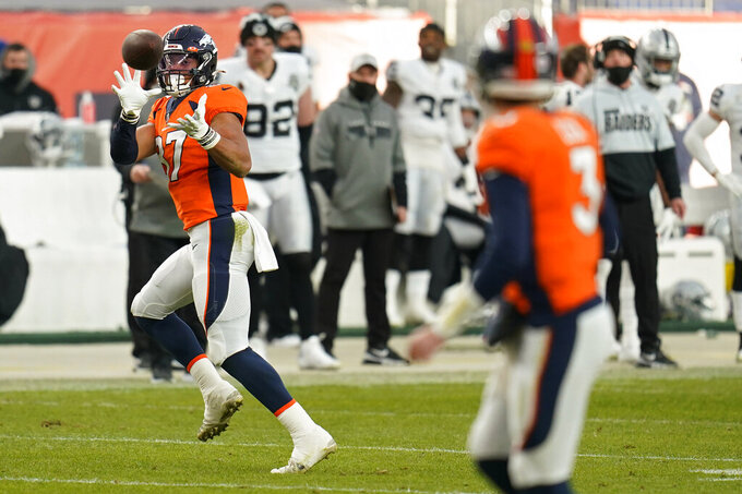 Denver Broncos tight end Noah Fant (87) catches a pass from quarterback Drew Lock (3) against the Las Vegas Raiders during the first half of an NFL football game, Sunday, Jan. 3, 2021, in Denver. (AP Photo/Jack Dempsey)
