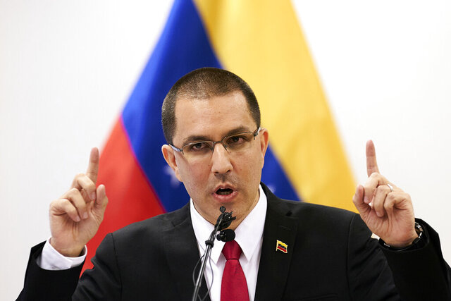 Venezuela's Foreign Minster Jorge Arreaza speaks during a press conference after visiting the International Criminal Court in The Hague, Netherlands, Thursday, Feb. 13, 2020. (AP Photo/Phil Nijhuis)