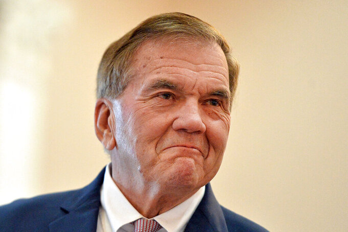 FILE - In this Jan. 3, 2020, file photo, Tom Ridge, who has serves as Secretary of Homeland Security, Pennsylvania Governor and U.S. Congressman, speaks in Erie, Pa. Ridge suffered a stroke Wednesday, June 16, 2021, at his home in suburban Washington, D.C., a longtime aide said.  (Christopher Millette/Erie Times-News via AP, File)