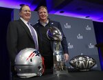 New England Patriots head coach Bill Belichick poses with NFL Commissioner Roger Goodell at a news conference for the NFL Super Bowl 53 football game Monday, Feb. 4, 2019, in Atlanta. The Patriots beat the Los Angeles Rams 13-3. (AP Photo/David J. Phillip)